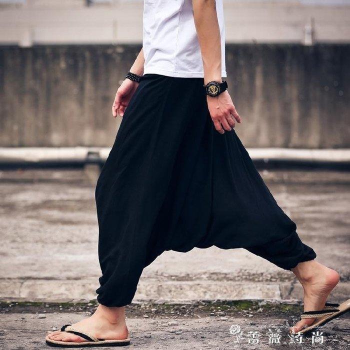 大襠褲寬鬆黑色九分褲嘻哈大碼低襠飛鼠褲子 情侶長褲