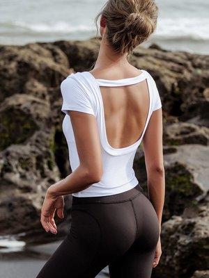 短袖運動t恤女速乾跑步健身瑜伽性感上衣露背修身休閒上衣--崴崴安