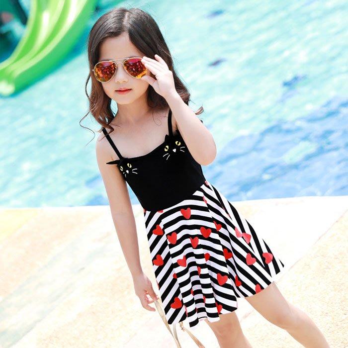 5Cgo【鴿樓】570304367248 新款兒童可愛連體泳衣中大童女孩裙式遊泳衣吊帶連體韓國可愛女寶寶泳裝連衣裙