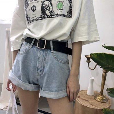 高腰牛仔短褲女學生2018春裝新款 寬松百搭卷邊闊腿褲