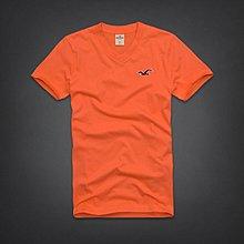 【全新真品現貨在台】(A&F AF )副牌Hollister (HCO)刺繡海鷗橘色V領短袖T恤M號