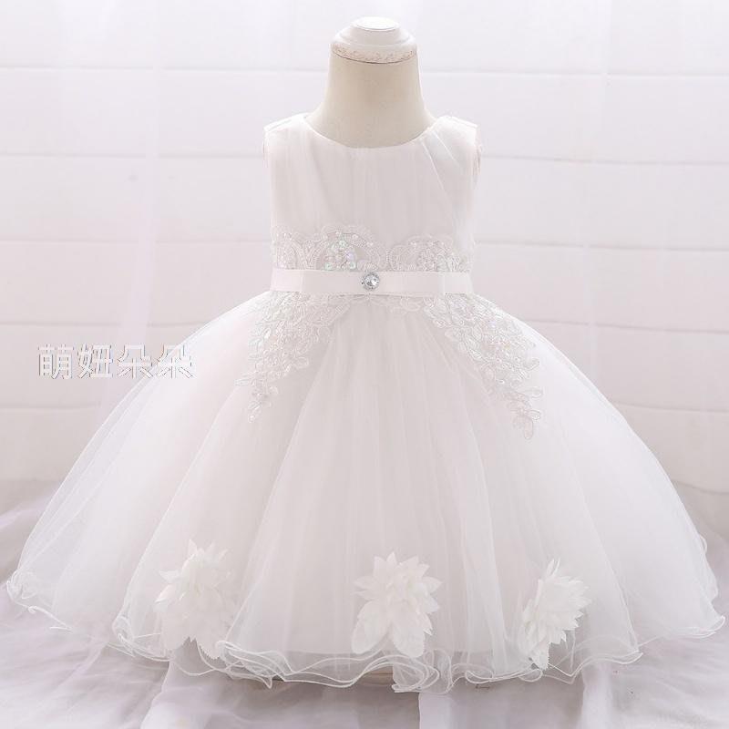 ♥萌妞朵朵♥滿月-2歲鑲鑽絲帶蕾絲公主紗裙/百日洗禮服/女童套裝/花童禮服