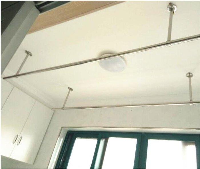 陽台固定式晾衣桿25加厚不銹鋼掛衣桿曬衣架單桿牆吊頂裝2.4米  igo 西城集市