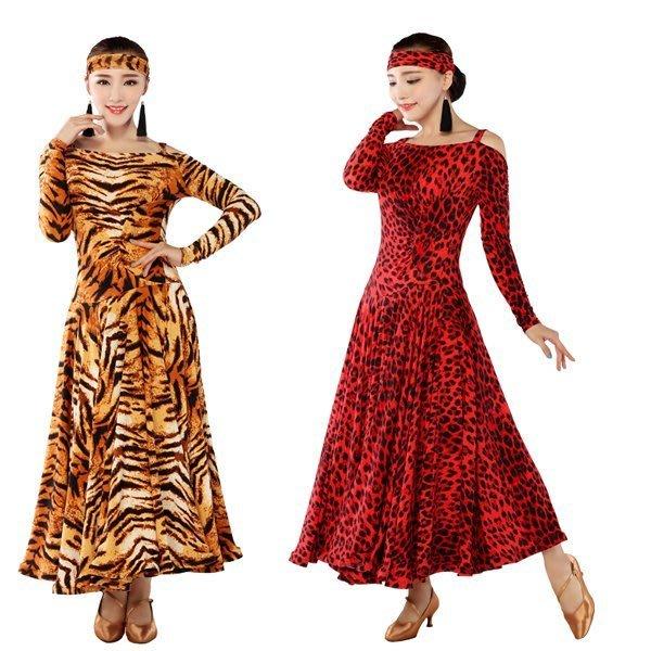 5Cgo【鴿樓】會員有優惠 35503148939 虎紋摩登舞裙演出服國標舞裙比賽連衣裙拉丁舞蹈服