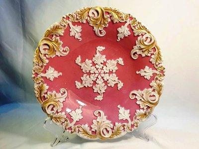 { Ruminant 慕名古物 } 19世紀德國麥森Meissen經典粉紅浮雕蕨葉鍍金盤
