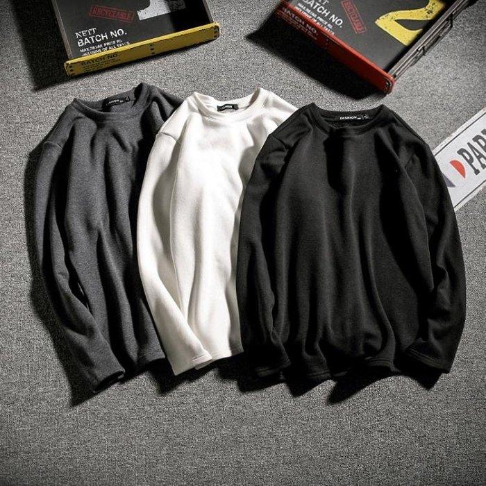 秋冬加絨長袖T恤打底衫 男士加肥大尺碼胖子保暖外套韓版潮男裝