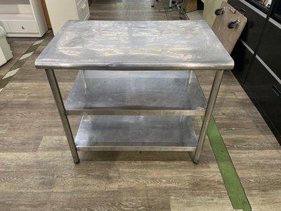 吉田二手傢俱❤3尺白鐵不鏽鋼工作台 料理工作台 工作桌
