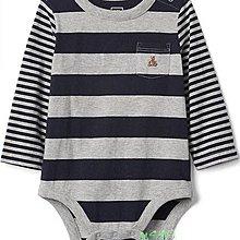 BabyGap灰色條紋長袖包屁衣(6~12M)