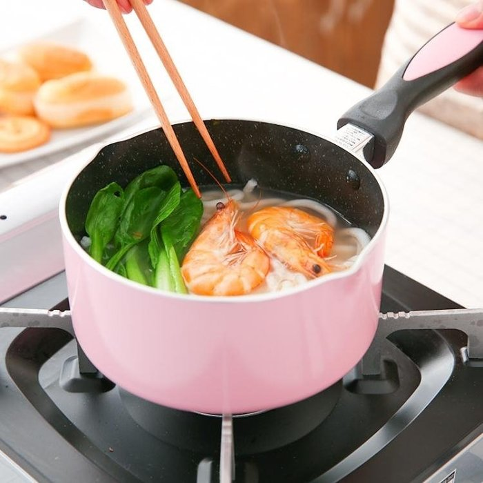 麥飯石熱牛奶鍋不黏鍋煮面嬰兒寶寶輔食鍋煮奶泡面小鍋迷你電磁爐 尚美優品