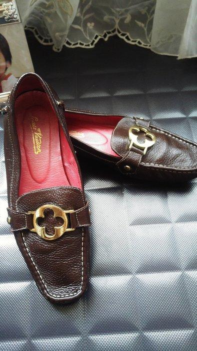 LV 棕色限量 鹿皮深棕色豆豆鞋
