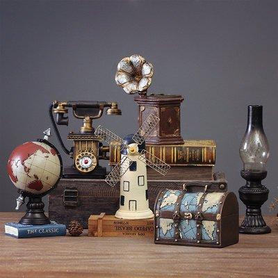 裝飾擺件 裝飾品 復古創意咖啡廳餐廳樹脂裝飾品擺件創意家居客廳電視柜樣板間擺設