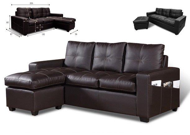 ~台製y04型L型乳膠皮沙發(可改色,改尺寸)~巧匠家具批發廣場~
