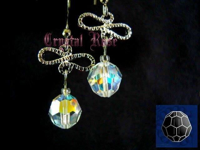 ※水晶玫瑰※ SWAROVSKI 8mm水晶珠 耳勾式針式耳環(DD331)~出清~三對免郵