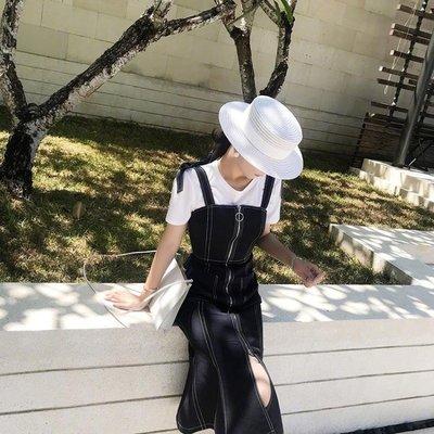 (免運)禮帽 帽子女夏天海邊遮陽防曬草...