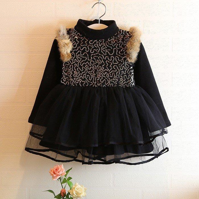 韓版《貴氣亮片款》加絨 毛毛洋裝 連衣裙 (J4-5)
