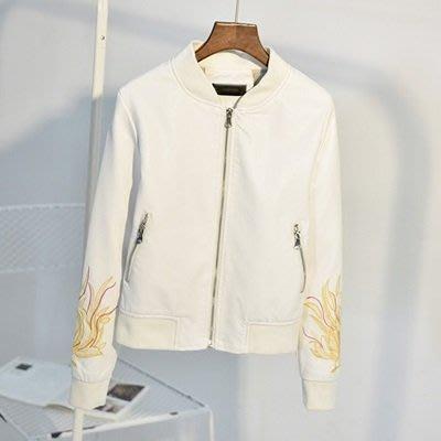皮衣外套 機車夾克-立領花朵刺繡短款女外套2色73on40[獨家進口][巴黎精品]
