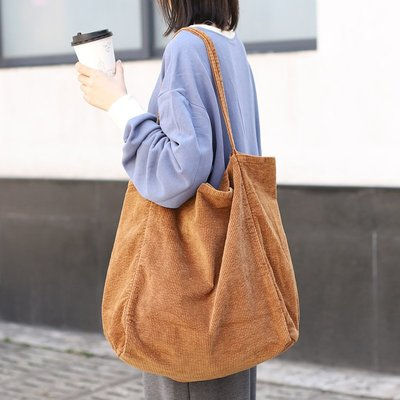 單肩包 燈芯絨 手提包-條紋純色大容量購物袋女包包5色73wo4[獨家進口][米蘭精品]