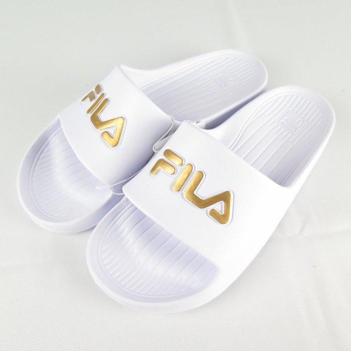 【iSport愛運動】FILA 完全防水拖鞋 經典 4S355T119 白金