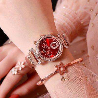 Louis手錶代購現貨2021正品新款女生手錶時尚潮韓網帶女錶磁鐵鋼帶女士時裝手錶防水