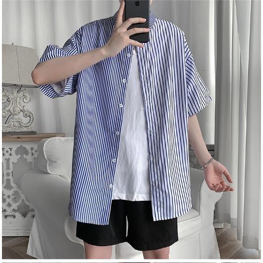 FINDSENSE X  立領男士 薄款撞色拼接 條紋短袖襯衫 男 上衣情侶襯衣潮襯衫 西裝襯衫