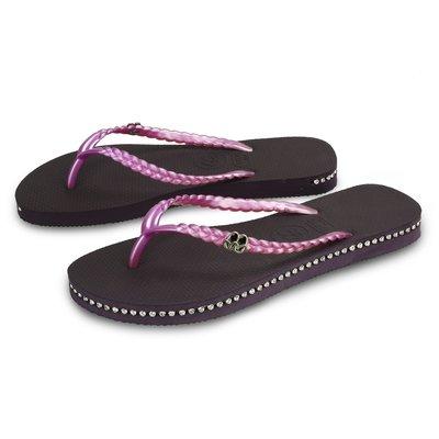 QWQ繽紛夾腳拖 側鑽款 施華洛世奇水晶 神秘紫色 免運- 阿法.伊恩納斯 百貨專櫃 蘇美島