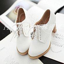 litterluck-韓國專櫃秋冬英倫風女鞋粗跟高跟單鞋布洛克牛津鞋學院漆皮白色系帶小皮鞋