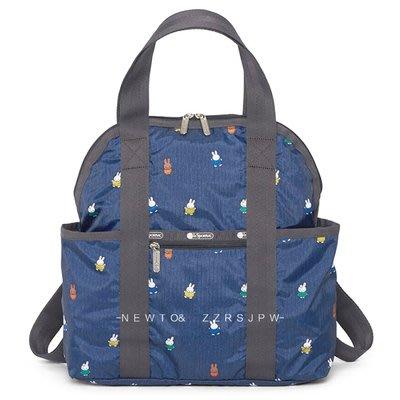 凱莉代購  LeSportsac 2442 藍底米飛兔 手提/雙肩後背包 輕量 多夾層 大容量 背面可插行李箱  預購
