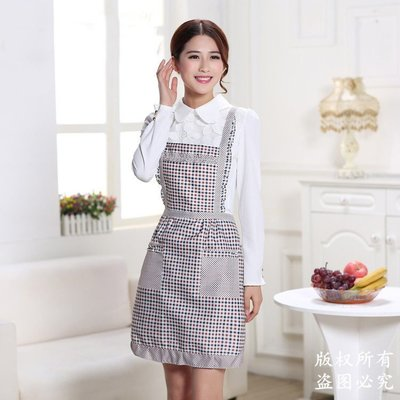 【berry_lin107營業中】時尚防污可愛圍裙成人女廚房做飯防水罩衣長袖大人工作服可定制