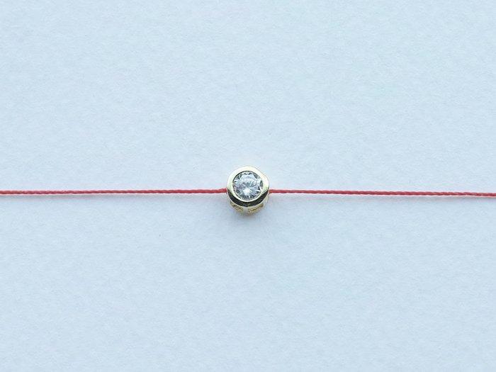 [Le Bonheur Line] 幸福線/ 4mm 單鑽 金包鑲 紅線 手鏈 經典款 redline 手繩(龍蝦扣)