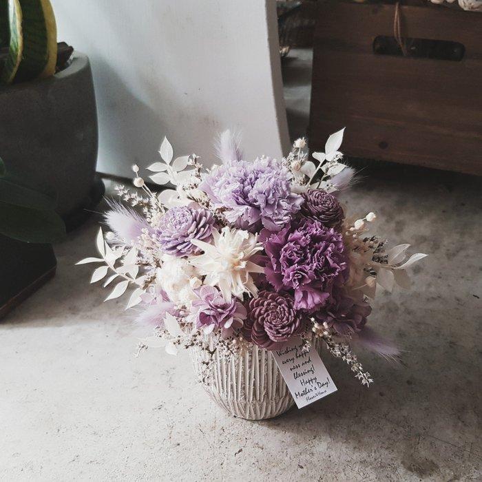 永生花+乾燥花|Love媽咪|母親節紫色康乃馨盆花|全省宅配歡迎自取【Flower&House花藝之家】