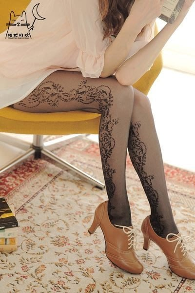 【拓拔月坊】日本知名品牌 Pied de Glace 華麗星星花 波浪 褲襪 日本製!