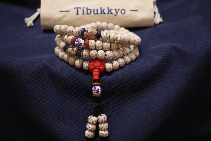 Tibukkyo  A++ 星月菩提 精品桶珠  海南元寶籽 高密正月 乾磨 108顆 8x10mm 菩提子 青花瓷隔珠
