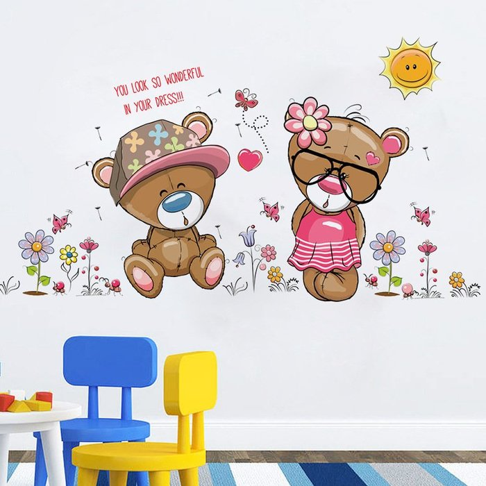 SK7009眼鏡熊壁貼.50*70牆貼.萌萌豬生活館