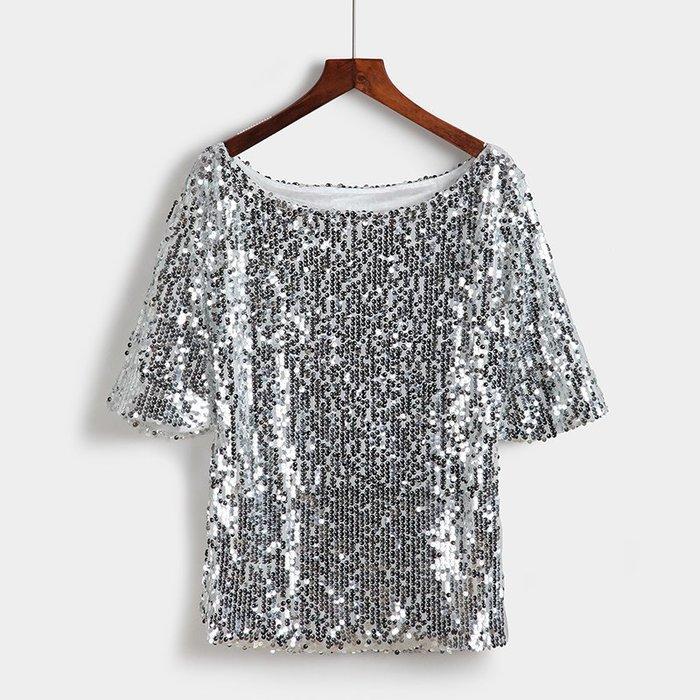 艾蜜莉舞蹈用品*表演服裝*加大碼銀色亮片短袖上衣$450元