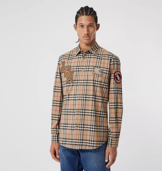 新款到貨-Burberry 官網熱推 經典剪裁標誌圖案 Vintage 格紋棉質襯衫-薄外套- 可搭配情侶款E8
