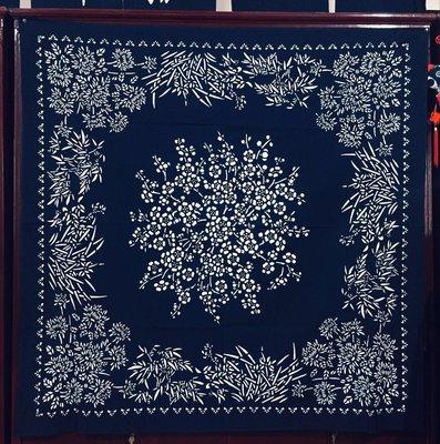 !!中國藍Anewei藍染梅蘭竹雙面方巾150*150CM門簾 窗簾 沙發巾.萊爾富免運