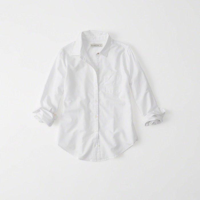 【Abercrombie&Fitch】【A&F】AF女款長袖襯衫金扣白LOGO白 F04170317-02