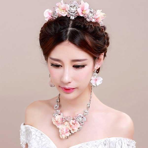 5Cgo【鴿樓】會員有優惠   20102450327 千色新娘頭飾克羅地亞巴洛克皇冠耳環手鏈套裝花朵結婚髪飾品花朵