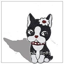 『ღIAsa 愛莎ღ手作雜貨』戴花小黑狗亮片貼佈刺繡補丁布貼衣服補丁貼修補服裝輔料《無背膠》