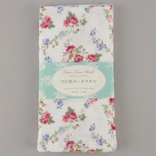 ~~凡爾賽生活精品~~全新日本進口白底紅色小玫瑰花造型純綿紗布大毛巾~日本製