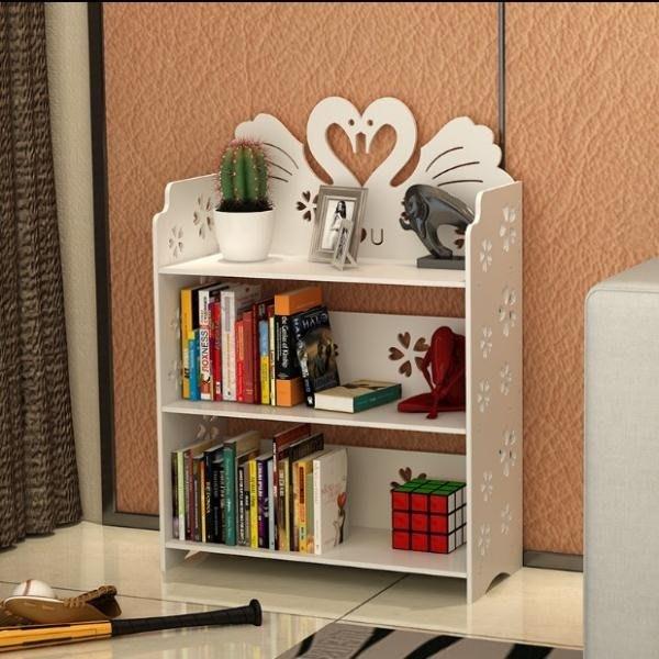 簡易雕花兒童小書柜書架自由組合置物架學生現代簡約客廳落地格架
