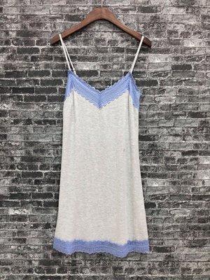 Maple麋鹿小舖 American Eagle * AE 灰+藍色細肩帶蕾絲睡衣 * ( 現貨S號 )