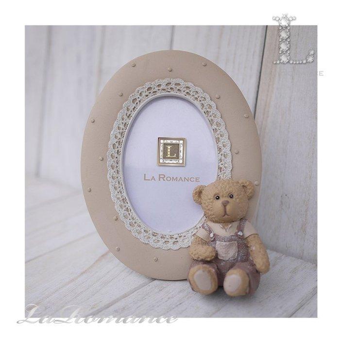 【義大利 Cupido & Company 特惠系列】咖啡色男生小熊橢圓2.5 x 3.5相框 / 泰迪熊 / 童趣動物