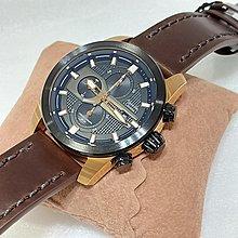 Alexandre Christie 三眼型男皮帶錶/時分秒計時/玫瑰金殼黑框/深咖啡皮革皮帶/正貨優品