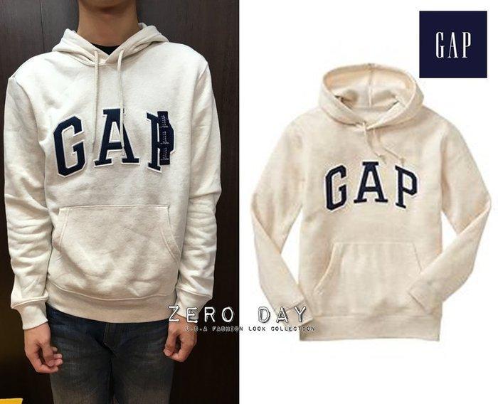 【零時差美國時尚網】GAP專櫃真品Factory arch logo hoodie立體貼布字母高質感刷毛連帽TEE-米白