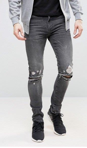◎美國代買◎ASOS 超顯廋好看抽鬚刷破可反摺褲管貼合身有彈性英倫搖滾龐克黑帶點灰白色刷破合身牛仔褲~歐美街風~大尺碼~