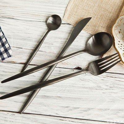 好物多商城 不銹鋼拉絲黑色西餐餐刀餐勺餐叉咖啡勺 葡萄牙西餐具四件套