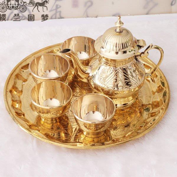 5Cgo【茗道】含稅會員有優惠 525553160268 印度進口銅茶壺茶杯茶盤茶道泡茶花茶功夫茶純銅手工雕刻家用茶具套