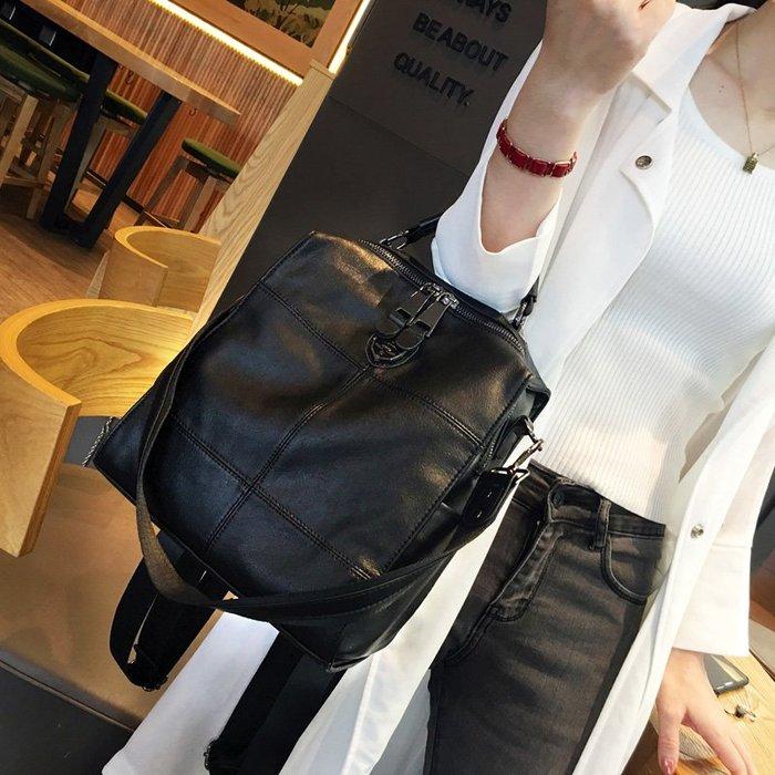 創意 旅行必備 香港 新款軟皮牛皮雙肩包女士多用單肩包百搭背包休閑真皮