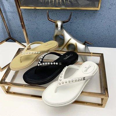 ✤寵愛Pamper for you✤CHANEL 20ss珍珠夾腳人字拖鞋
